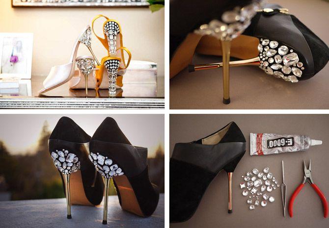 High Heel Shoes Makeover: DIY Jeweled Heels | Shoe makeover, Diy .