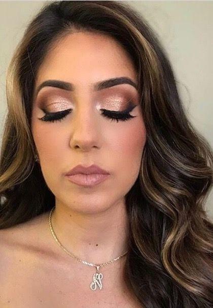 Shimmery gold brown Smokey eye makeup, rosey lips | Smokey eye for .