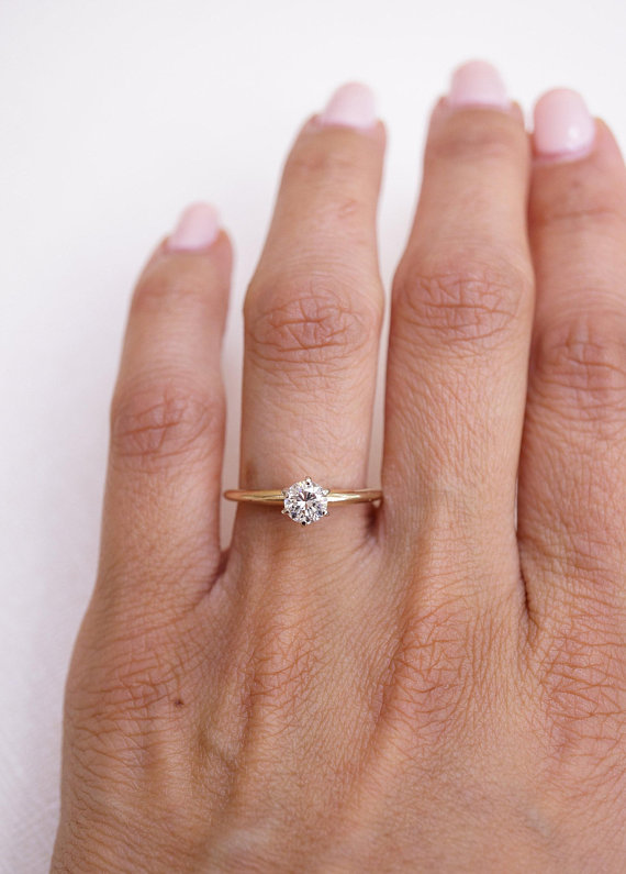 Round Brilliant Shape Diamond Solitaire in 14k Yellow Gold   Etsy .