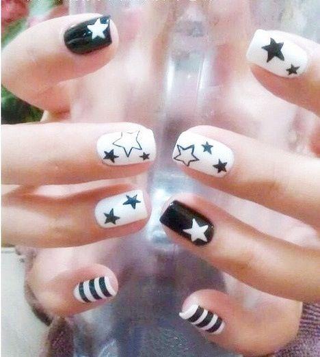 Cute Star Nails | White nail art, Star nail art, Star nail desig