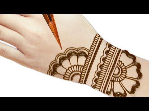 Back hand beautiful henna design - Simple and easy mehndi designs .