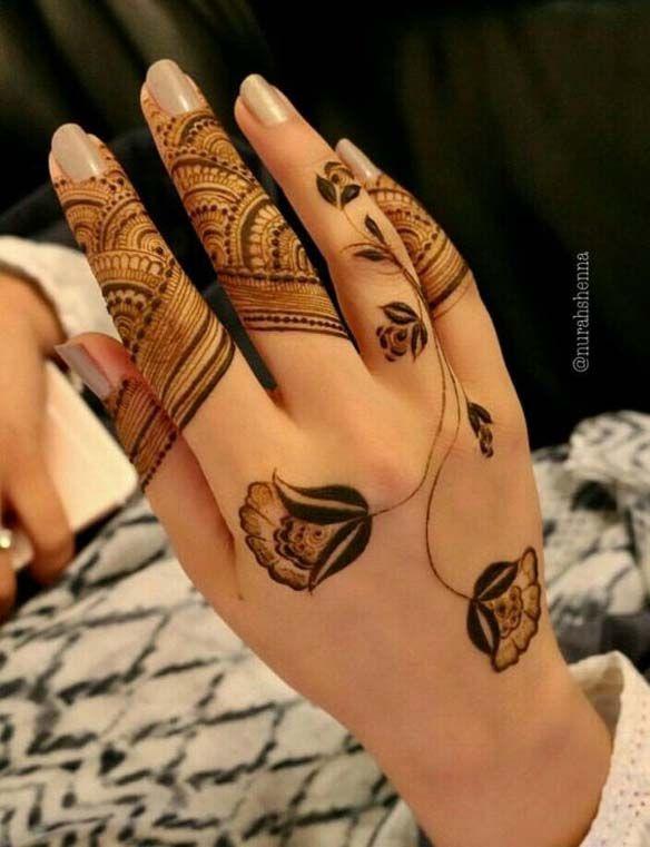 Stunning Back Hand Henna Design   Kına tasarımları, Kına dövmeler .