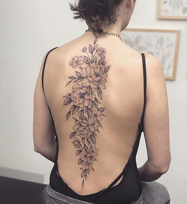 41 Beautiful Peony Tattoo Ideas for Women | StayGlam | Floral back .