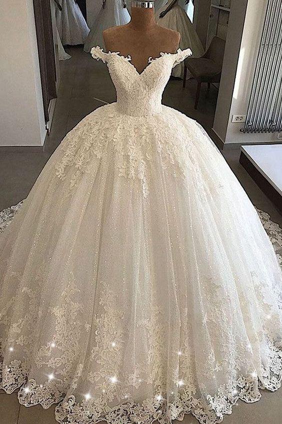 Stunning Wedding Dress Tulle Off-the-shoulder Bridal Dress .