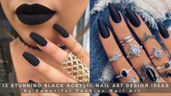 13 Stunning Black Acrylic Nail Art Design Ide