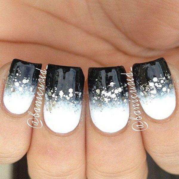 70+ Stunning Glitter Nail Designs 2017   Black and white nail art .