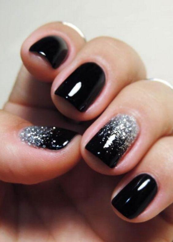 99+ Trending Black Nails Art Manicure Ideas   Ombre nails glitter .
