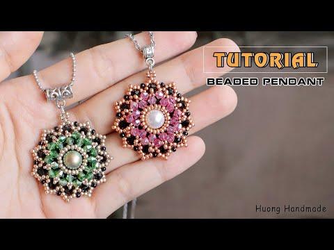 Stunning beaded pendant or earrings DIY - YouTube in 2020   Bead .