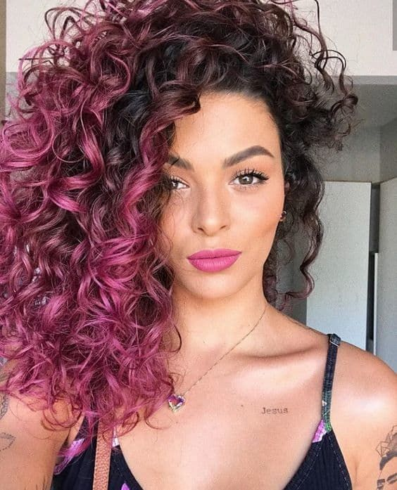 11 Pink Curly Hairstyles That Ooze Cuteness   Curly pink hair .