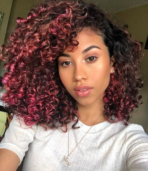 11 Pink Curly Hairstyles That Ooze Cuteness   Curly hair styles .