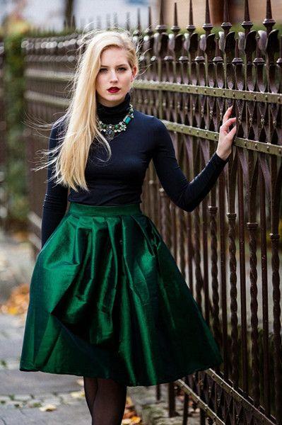 Green A-line Midi Skirt - Retro, Indie and Unique Fashion .