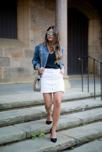 20 Stylish Button Front Skirt Outfits For Summer - Styleoholic .