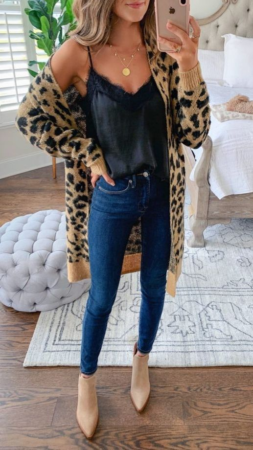 Cute Leopard Skirt Outfit #OutfitIdeas #WomenOutfits | Trendy .