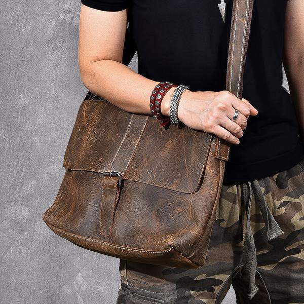 Full Grain Leather Men Messenger Bag Satchel Bag Stylish Shoulder .