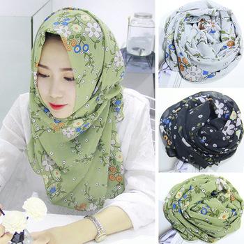Lady Women's Floral Print Stylish Scarves Designs Hijab Scarf .