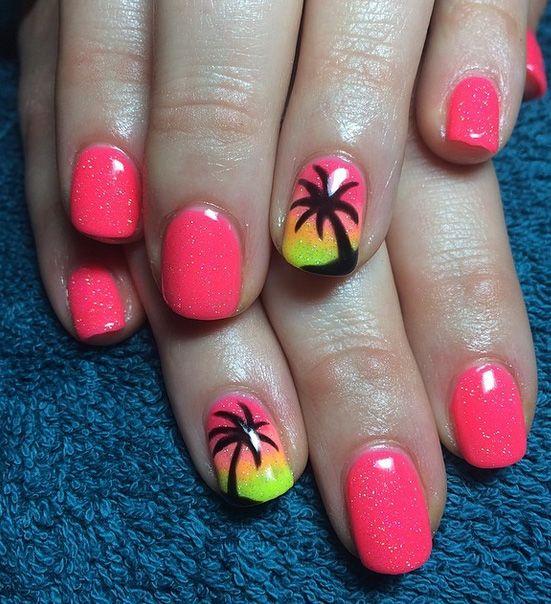 Easy and Cute Summer Nail Art Ideas   5WaysTo.net   Palm tree .