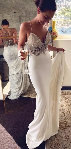 Spaghetti Strap Ivory Applique Mermaid Summer Wedding Dresses .