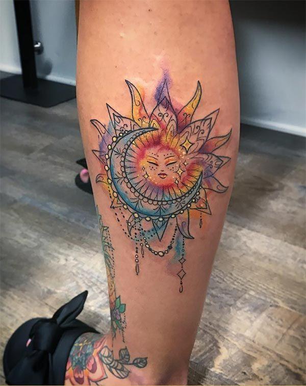 Beautiful+ornamental+sun+moon+watercolor+tattoo+ideas+for+Trendy+ .