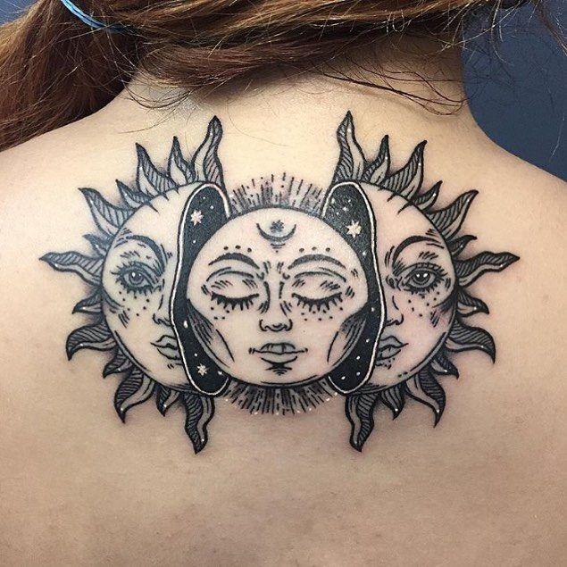 50 Meaningful and Beautiful Sun and Moon Tattoos | Moon tattoo .