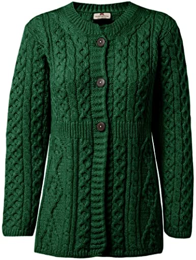 Carriag Donn Aran Sweater Made in Ireland for Women Merino Wool a .