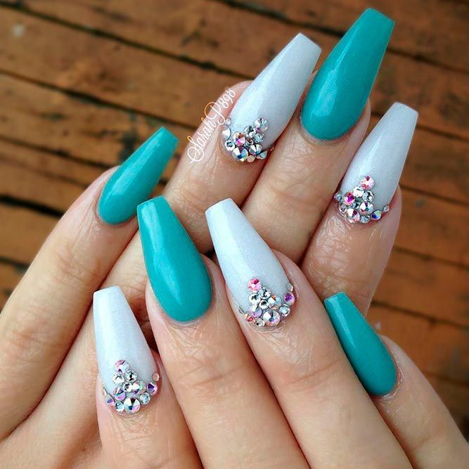 Exquisite Teal Color Nails Ideas | NailDesignsJournal.com | Teal .