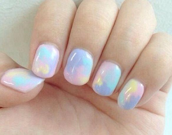 Pastel tie dye nails   Opal nails, Pastel nail art, Love nai