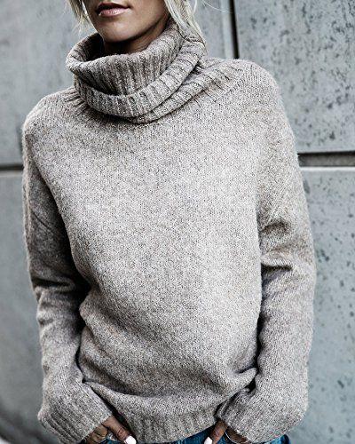 Beautife Womens Sweaters Casual Turtleneck Long Sleeve Soft .