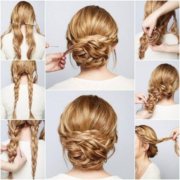 Quick and Easy DIY Pull Through Braid Updo   Natural hair styles .