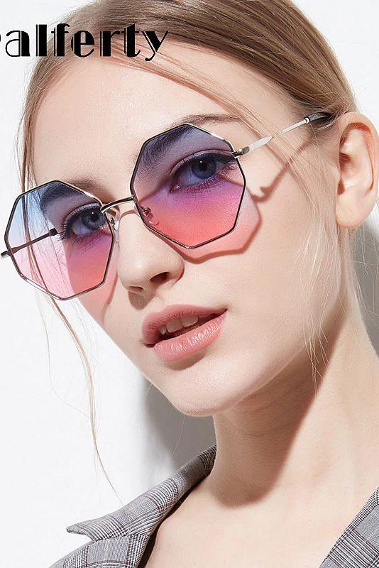 Ralferty Trendy Hexagon Sunglasses Women Sun Glasses UV400 Eyewear .