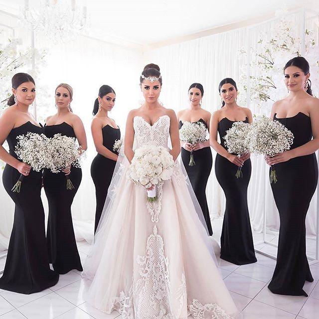 Black bridesmaid dresses, Unique strapless mermaid bridesmaid .