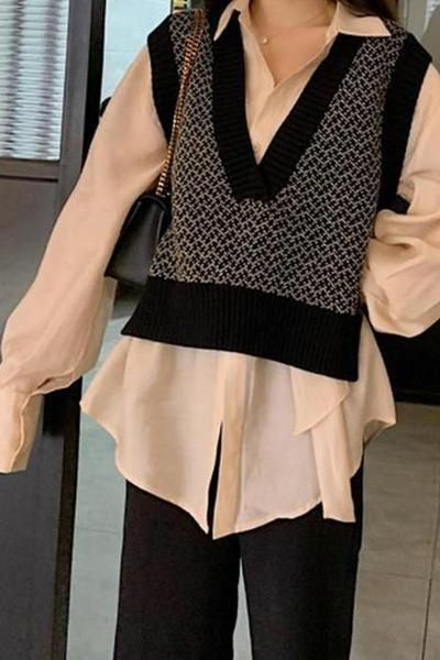 Casual Loose V Neck Knitted Sweater Vest – linenlooks sweater .