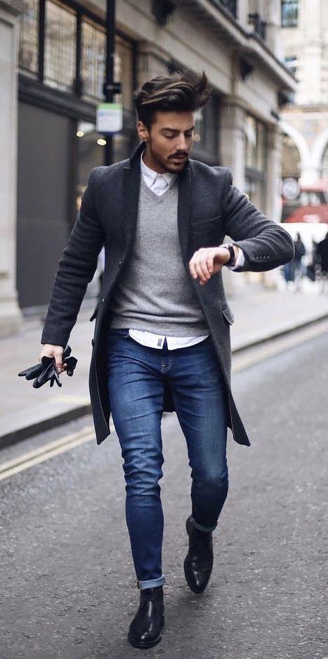 rowanrow - with a fall combo idea with a gray v-neck sweater white .