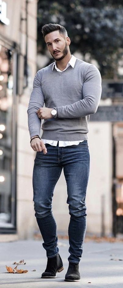 youclement - Fall fashion inspiration with a gray v-neck sweater .