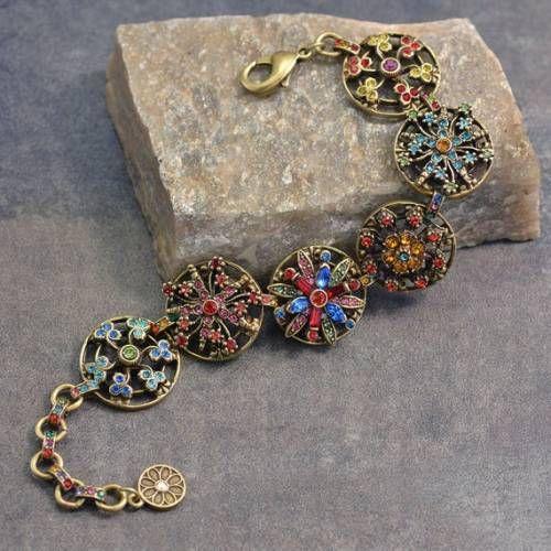 Rainbow Crystal Bracelet, Crystal Flower Jewelry, Statement .