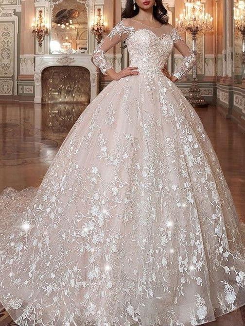 Long Sleeve Vintage Wedding Dresses Lace Applique Princess Wedding .