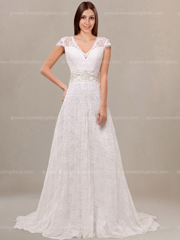 Vintage Style Wedding Dress with Cap Sleeves $2