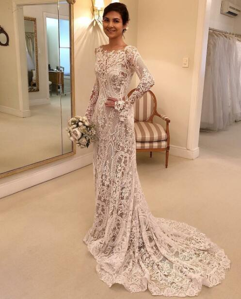 Long Sleeves Vintage Wedding Dress 2019 New Bridal Gowns High .