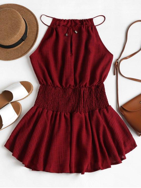 28% OFF] 2020 Smocked Waist Cami Dress In RED WINE   ZAF