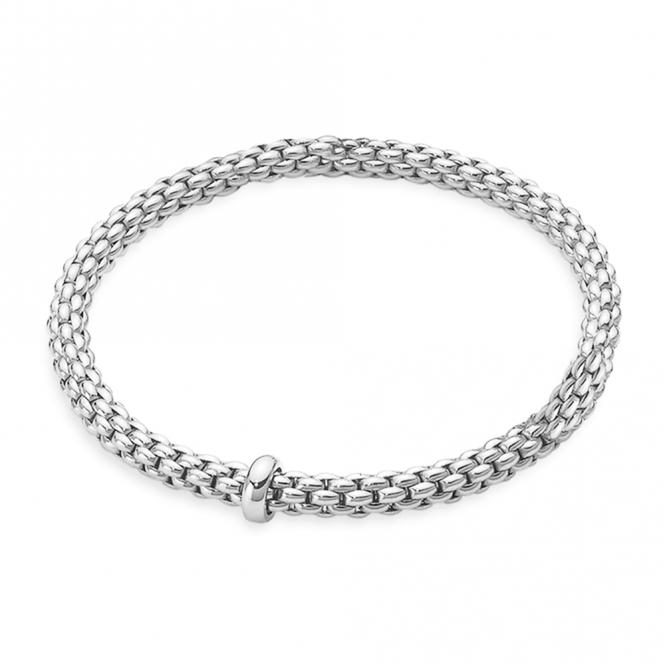 Fope Flex'it Solo 18ct White Gold Bracelet With White Gold Plain .